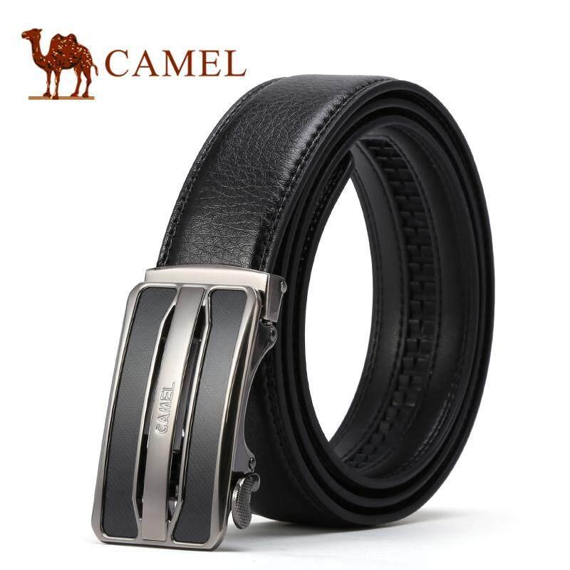 อูฐผู้ชายอัตโนมัติหัวเข็มขัด 100% ของแท้หนังวัวธุรกิจสายคล้องลำลองเข็มขัด By Camel International.
