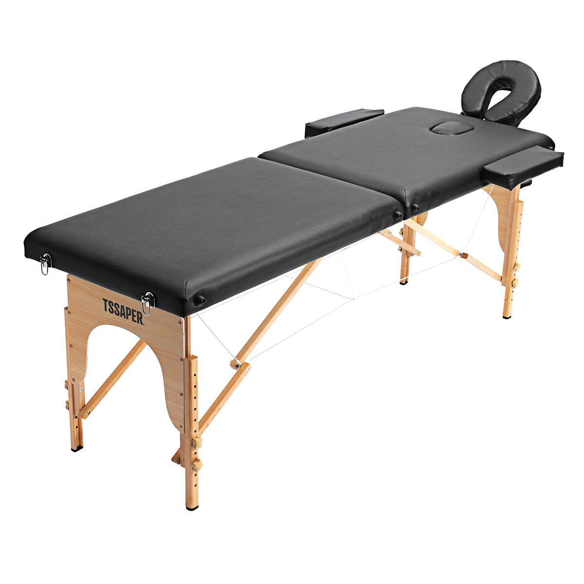 Portable 3 Pad 73 Black Massage Table Massage Bed Fold Case Carry Tattoo Bed Spa Facial Adjustable 58-82cm Height