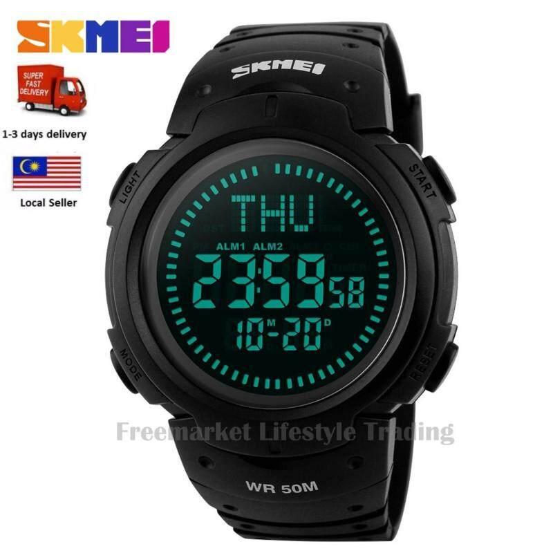 SKMEI 1231 Outdoor Man Sports Compass Series Watches Fashion Waterproof Watch Digital LED Chronograph - Black Malaysia