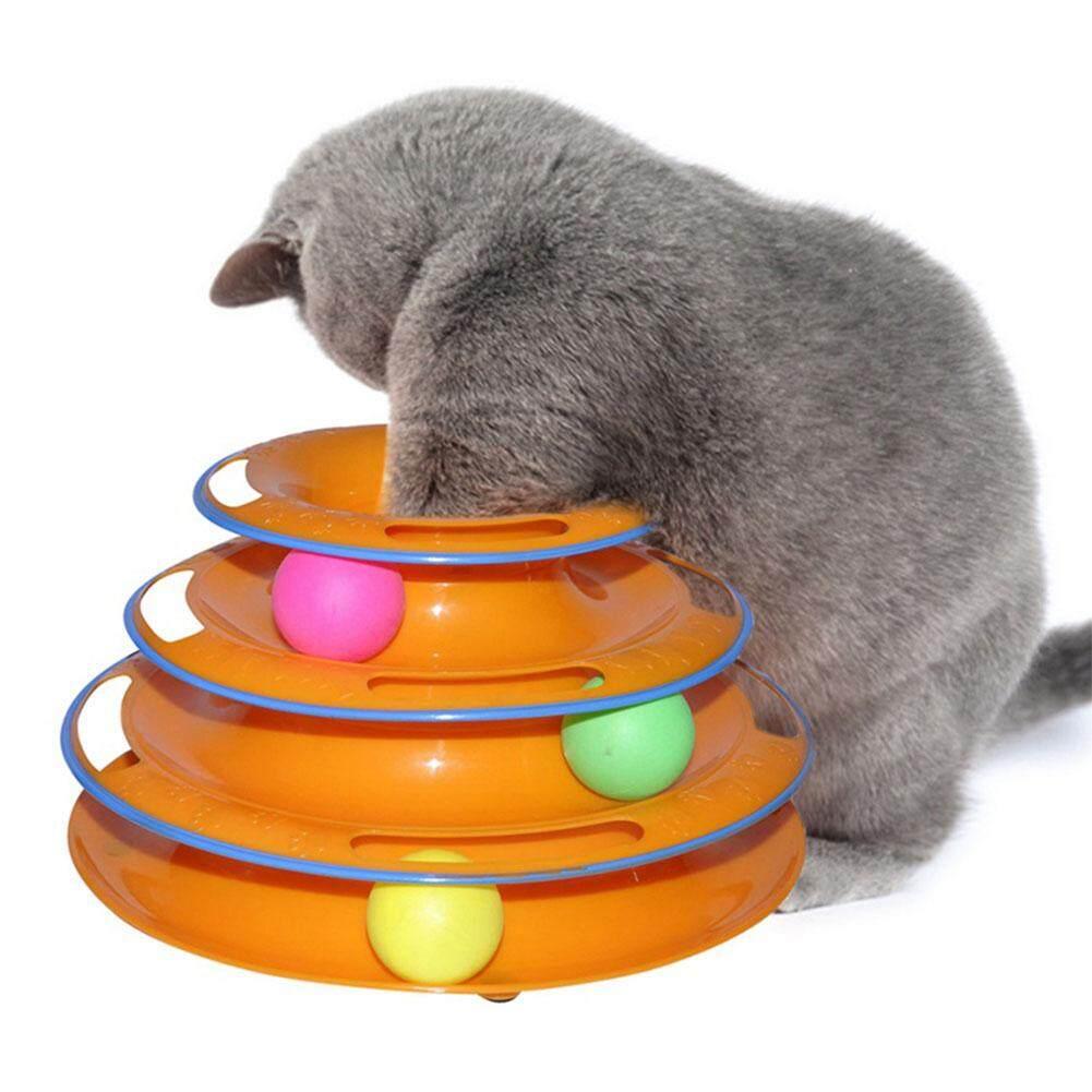 Qimiao ขายใหญ่ปอนด์ 4 ชั้น Funny Cat Crazy บอลดิสก์สัตว์เลี้ยงของเล่นแบบโต้ตอบสนุก Play Disc Turntable ของเล่นแมว By Qimiao Store.