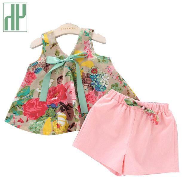 7f8bb4f34c4f Baby girl summer clothes Floral Rose Print off shoulder Vest + Shorts Pink  boutique kids clothing