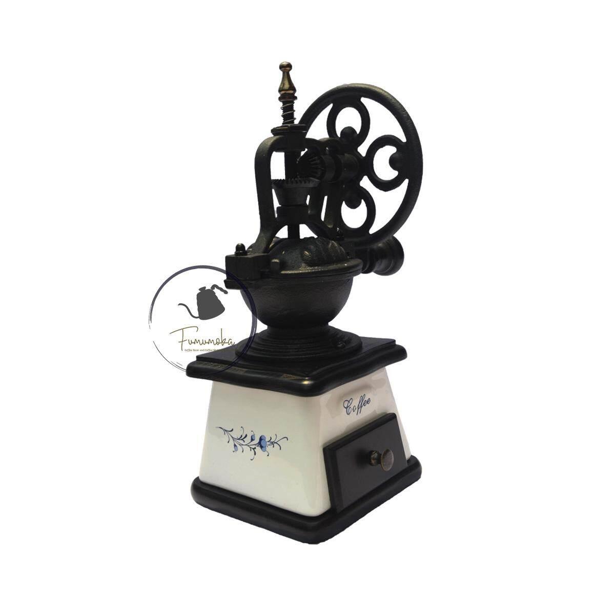 Fumumoka A18B Traditional Ceramic Handheld Coffee Bean Mill Coffee Grinder (Ceramic White)