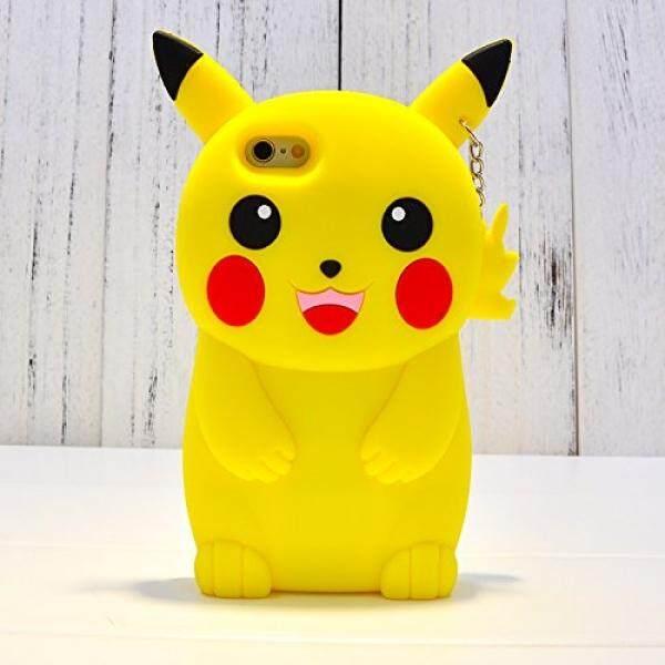 Sarung Telepn Seluler Chillnchic Pikachu Case dengan Leher Tali untuk iPhone 6/Iphone 6 S Biasa Ukuran Kecil 4.7 Kembali Covers Soft bahan Silikon 3D Desain Kartun Sangat Tebal Tahan Lucu Pelindung Warna Kuning-Intl