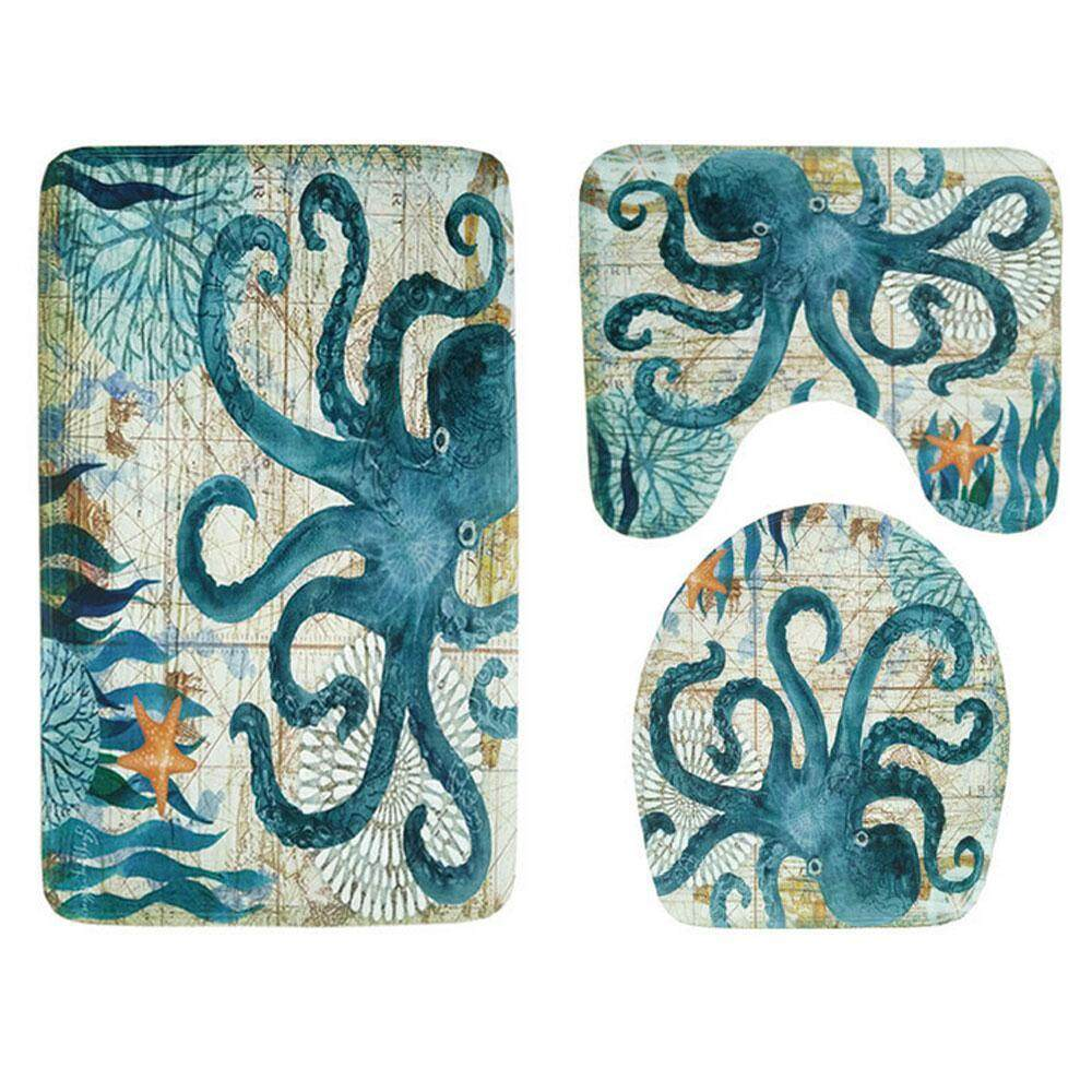 GoodGreat Slip-Resistant 3 Pcs Bathroom Carpet Toilet Pedestal Covers