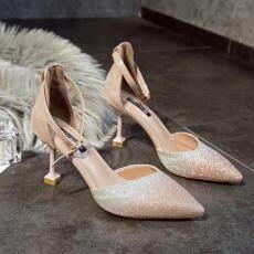 Summer Wanita Pumps Kecil Sepatu Hak Sepatu Pernikahan Elegan Non-Slip Meningkat Ramping Tinggi Tumit