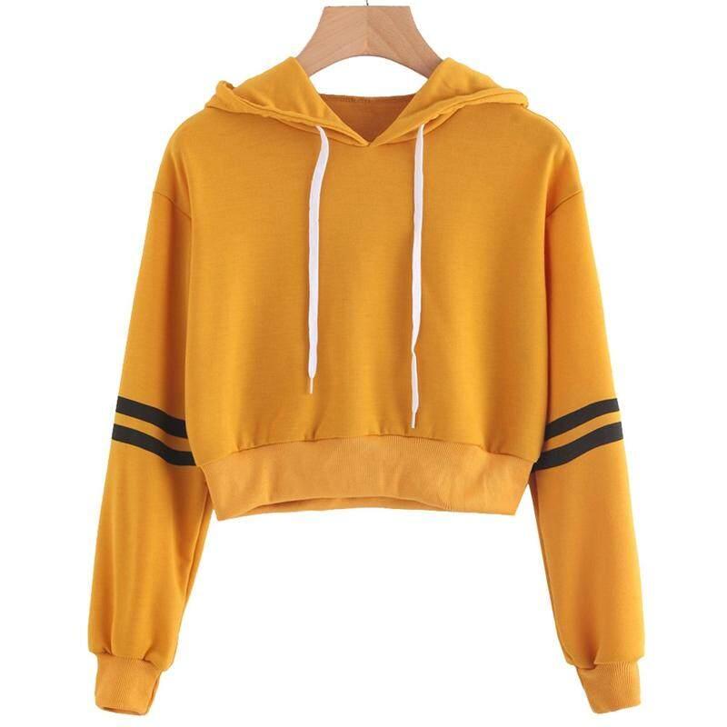 cd6758841efe BZY Women Fashion Striped Drawstring Crop Hoodie Sweatshirt Jumper Crop  Pullover Top