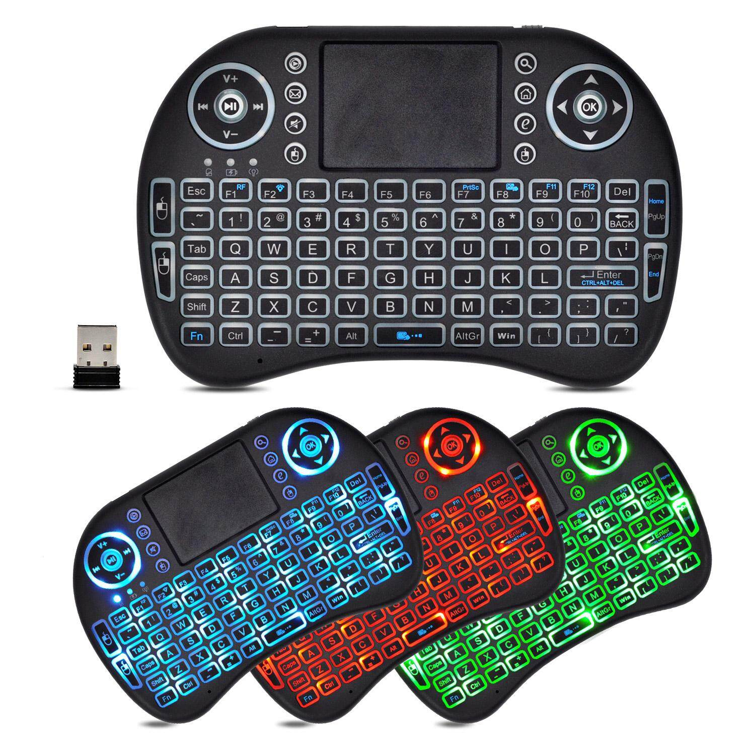2.4GHz Wireless LED Colorful Backlit Mini Keyboard with Mouse Touchpad and Multimedia Keys for PC, Laptop, Raspberry PI, MacOS, Linux, HTPC, IPTV, Android Smart TV Box, XBMC, Windows 7 8 10(92key, Black and 3 Color Light) Malaysia