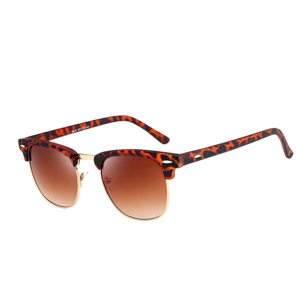 Qimiao Retro Bingkai Setengah Modis HD Lensa Kaca Kacamata Vintage untuk Pria Wanita Lensa Warna: