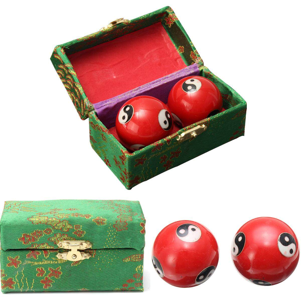 Chinese Health Exercise Stress Relief Baoding Balls Yin Yang Red 42mm + Case By Glimmer.