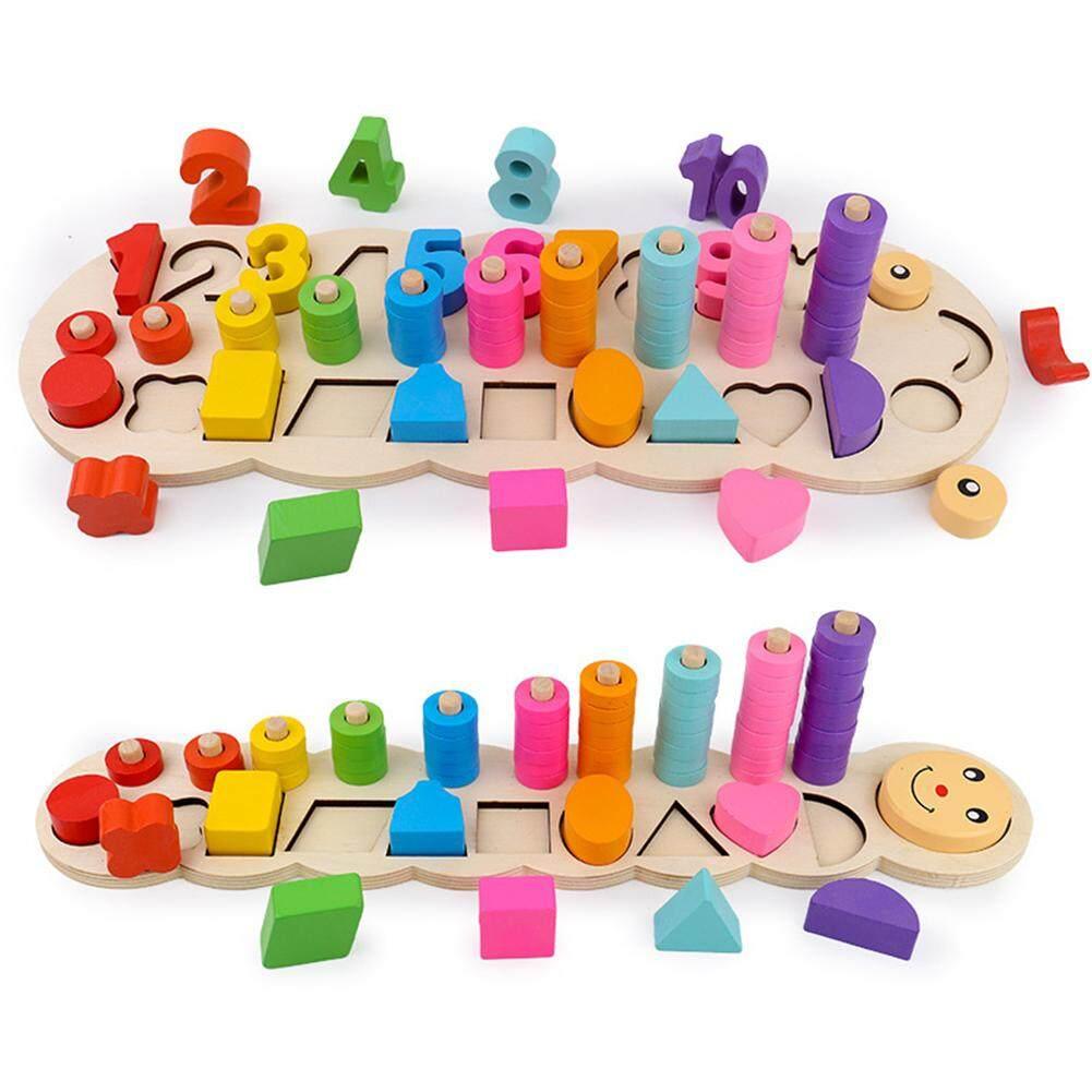 Meter Persegi Anak-anak Ulat Kayu Bongkar Pasang Geometri Papan Puzzle Kotak Nomor Bentuk Yang Sesuai dengan Mainan Pendidikan untuk Siswa Prasekolah