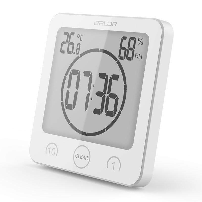 1-10 Minutes Countdown Digital Wall Clock Waterproof Thermometer Hygrometer with LCD Display Sucker