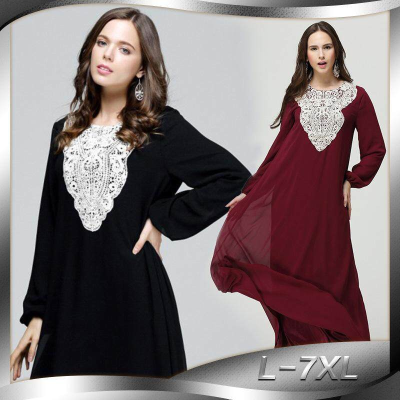 Solid Lace Dubia Style Muslim Abaya Long Sleeve Plus Size Kaftan Robe Long Dress By Onebetter.
