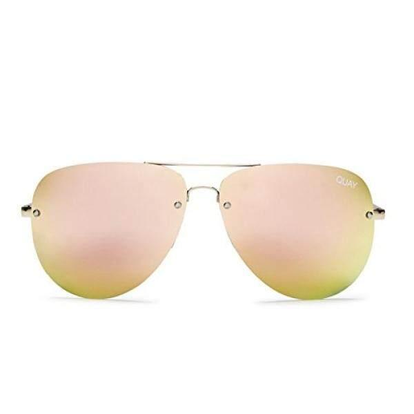 Quay Australia Muse Wanita Kacamata Surya Penerbang dengan Lensa Cermin-Gold/Berwarna Merah Muda-Internasional