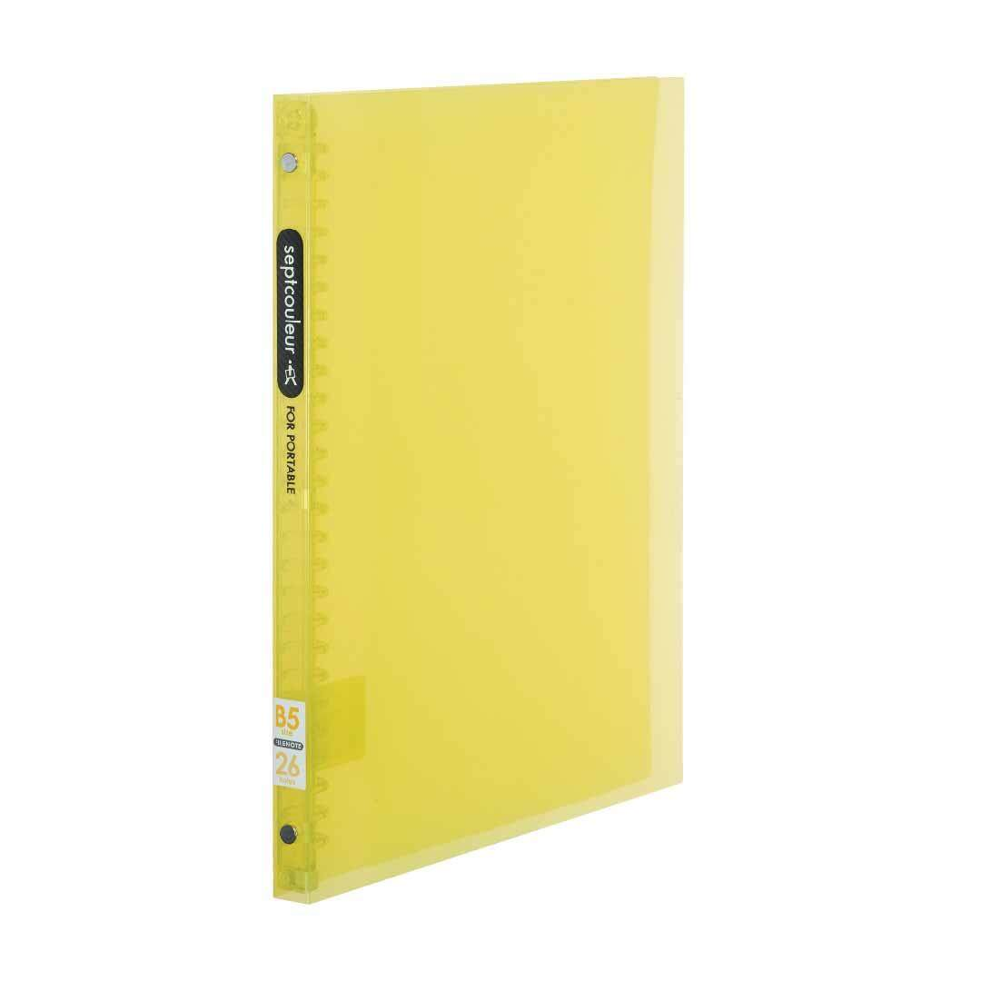 SEPT COULEUR B5, 26 Holes, 60 Sheets, 15 Spine Width - Yellow
