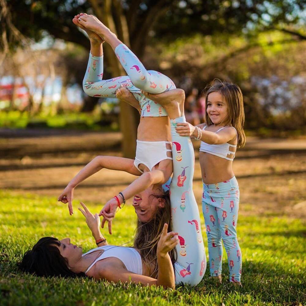 Ibu Ketat Dicetak Elastis Yoga Celana Legging Keluarga Pakaian Wanita Celana-Internasional