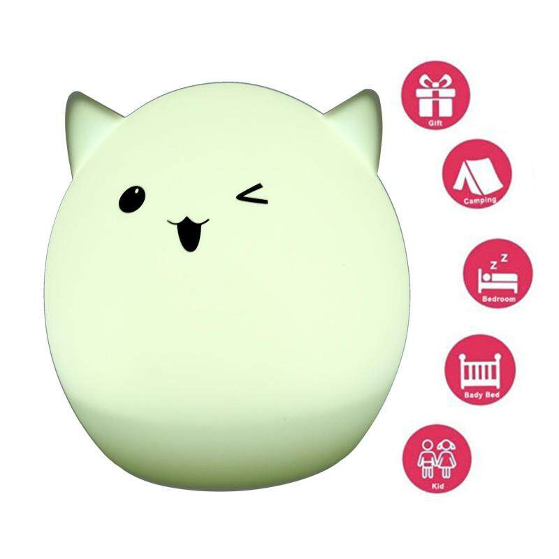 zoowop Portable Silicone LED Colorful Baby Night Light, USB Rechargeable Children Night Lamp With Warm White, 7-Color Breathing, Single Color 3 Lighting Modes For Kids Adults Bedroom(A) Singapore