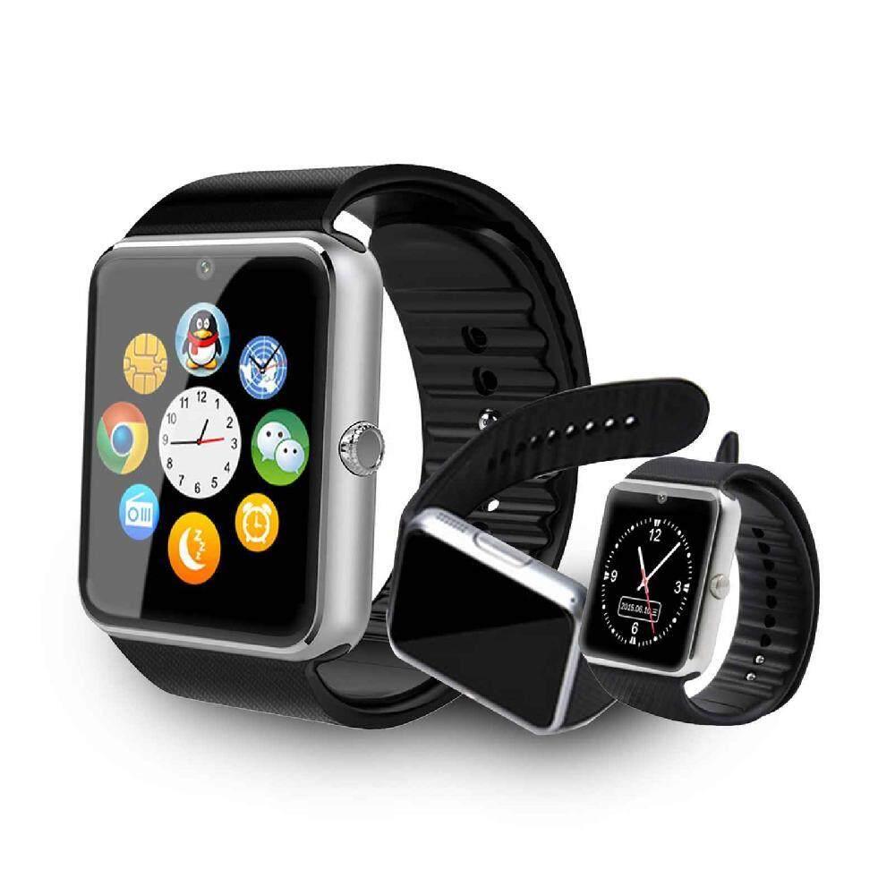 Jiuch Portable GT08 Bluetooth Alat Pengukur Langkah Antiair GSM NFC Ponsel Mate Layar Sentuh Cerdas Jam Tangan untuk Android IOS iPhone untuk Xiaomi iPhone Silver