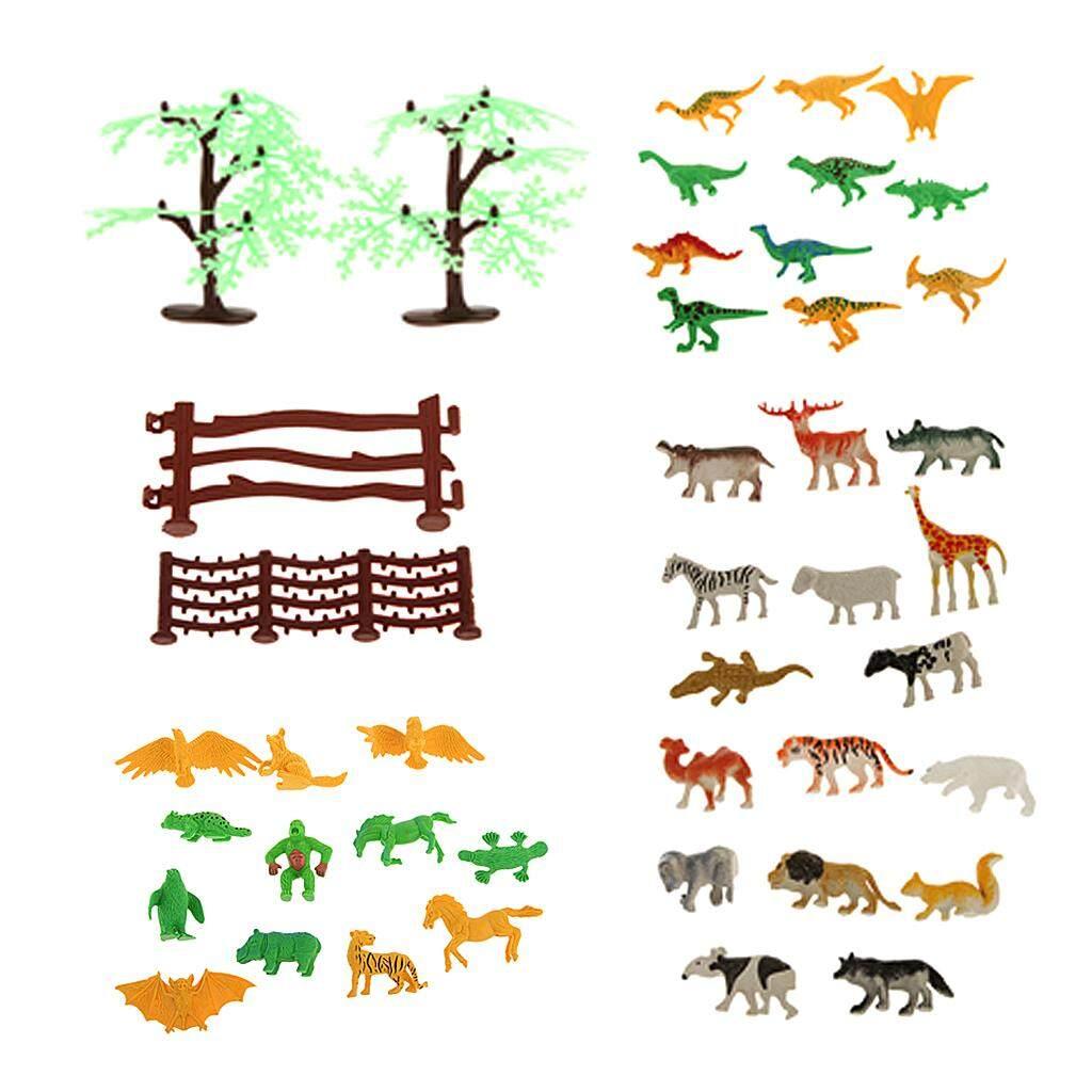 MagiDeal Plastic Wild Animals Farm Yard Model Figure Kit Pack of 68