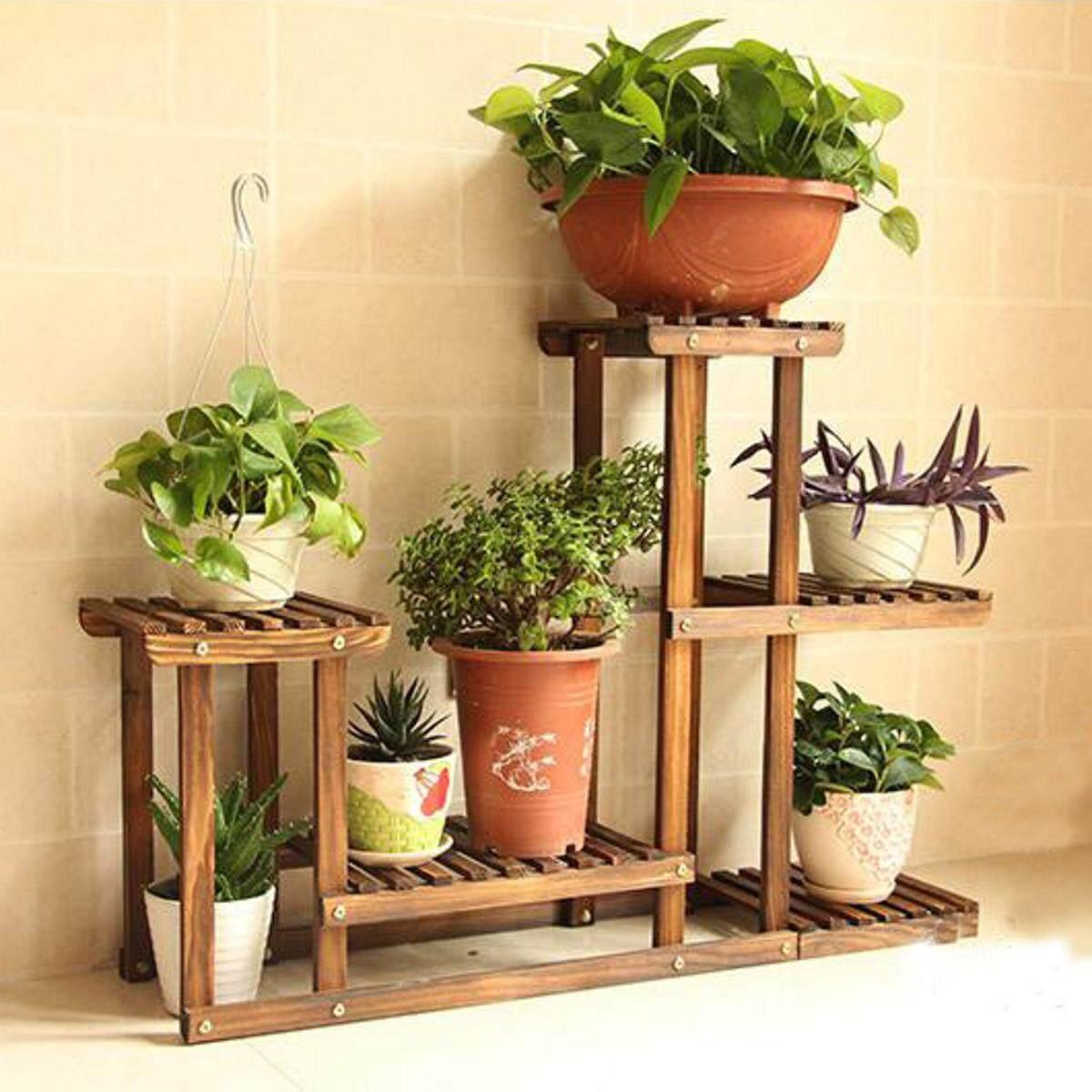 Premium Bamboo Wooden Plant Stand Indoor Outdoor Garden Planter Flower Pot Shelf - intl