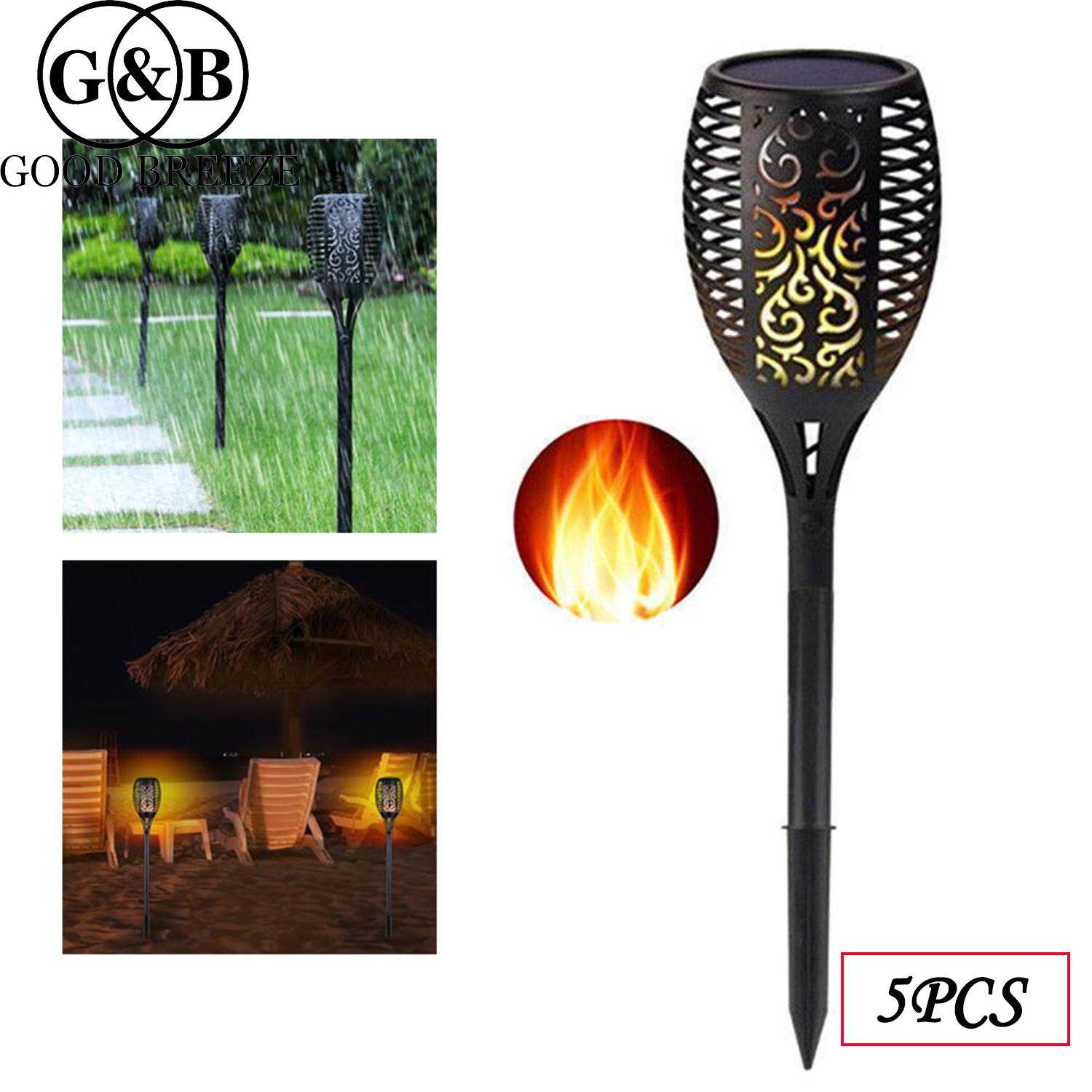 G&B Good Breeze Solar Torch Lights, Waterproof Flickering Flame Light Security Path Lights Dusk to Dawn Auto On/Off for Garden Courtyard Lawn Decorative Landscape Lights