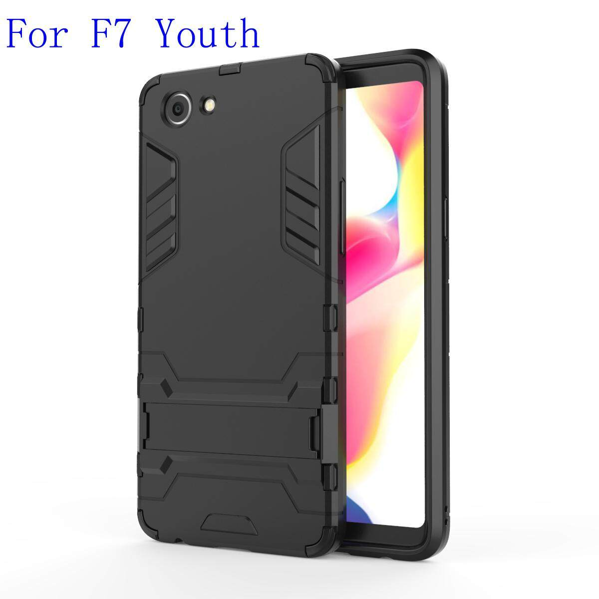 For Oppo F7 Youth Case Dual Layer Shockproof Casing Built-in Stand Cover For F7 Youth