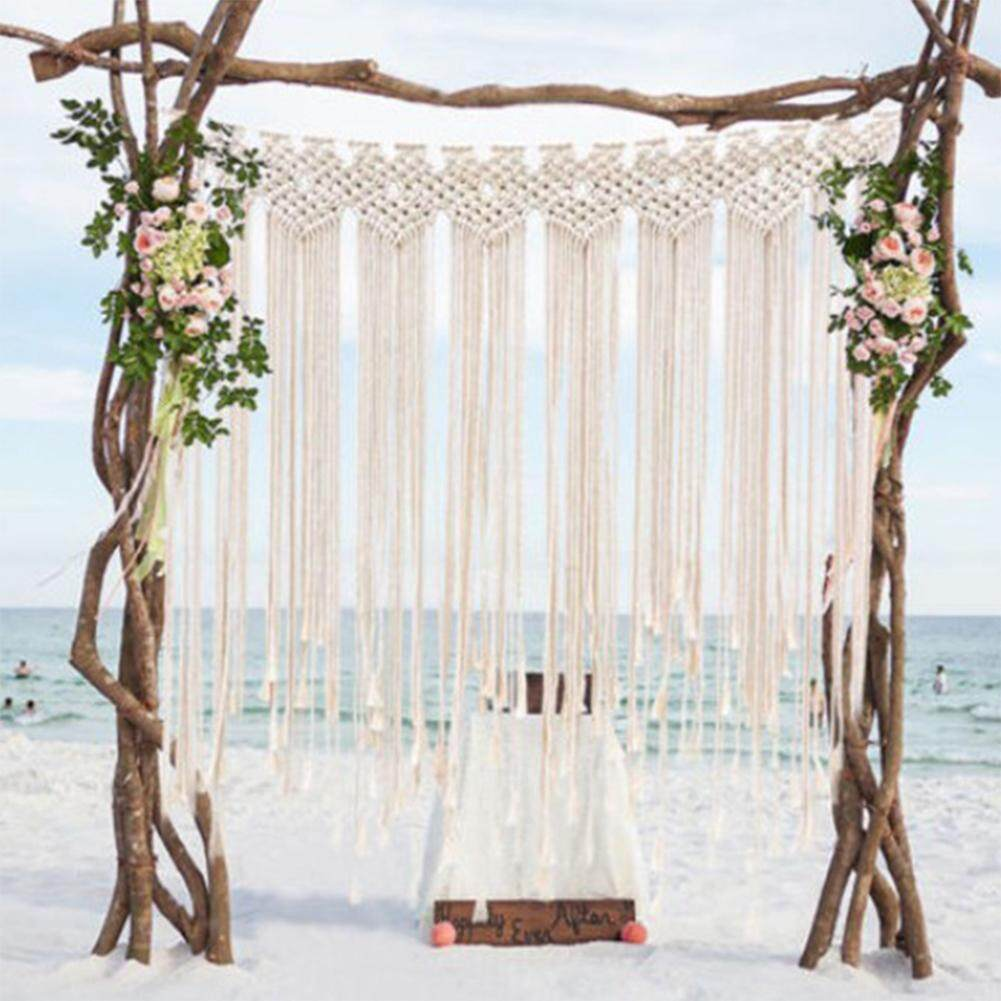LB Macrame Wedding Ceremony Backdrop Curtain Wall Hanging Cotton Handmade Wall Art Home Decor 45.2*53in