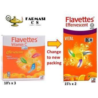 Flavettes Effervescent Vital Vit C 1000mg+Calcium 15sx2 Orange EXP:2/2020