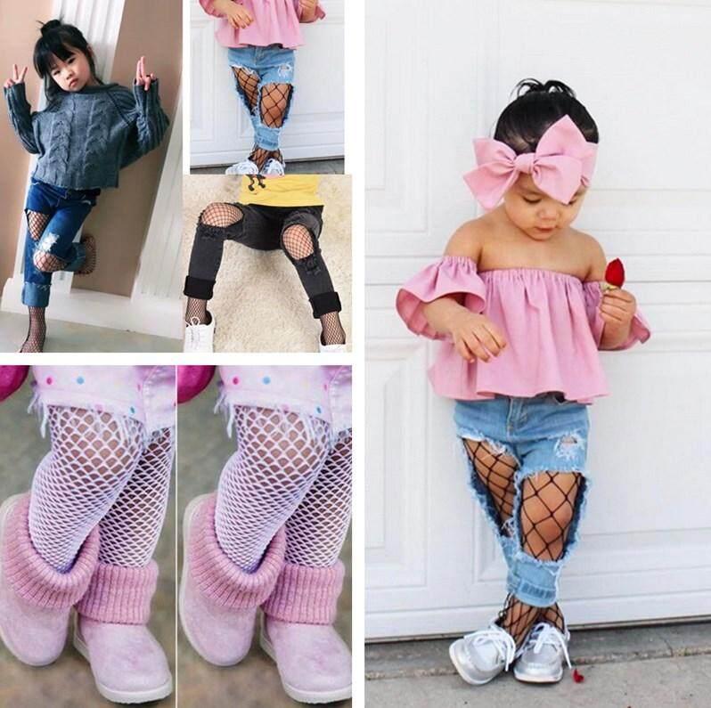 Fashion 3 Pola Bayi Perempuan Anak-anak Jaring Katun Stoking Jala Stoking Jaring Kaus Kaki