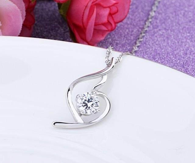 【Berlian putih feminin + rantai ombak air 45cm】925 sterling silver kalung liontin perempuan