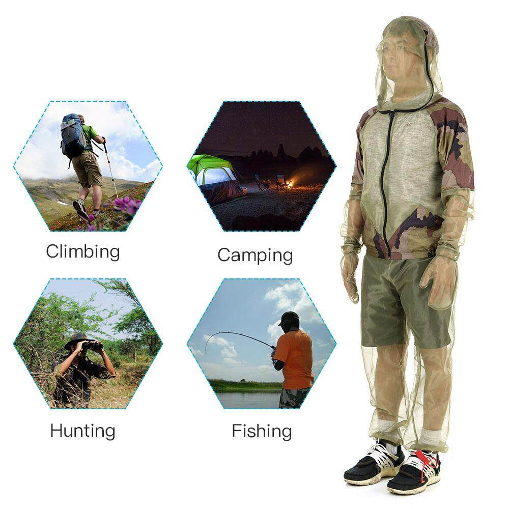 Fishing Lixada Fishing Clothings Vest Outdoor Mosquito Repellent Suit Bug Mesh Hooded Suits Hunting Camping Jacket Mesh Shirt Gloves