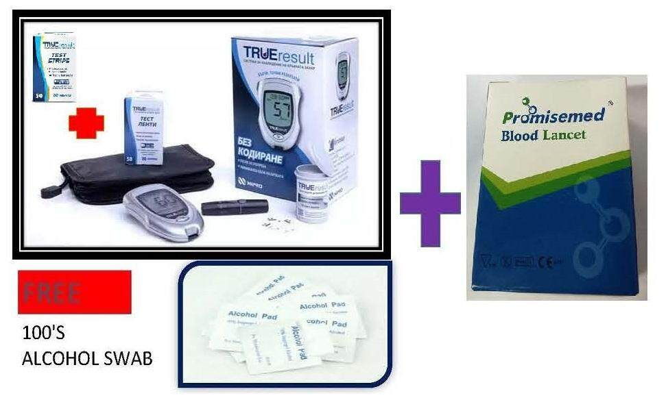 Nipro True Result (Lifetime warranty) Blood Glucose Monitor Meter Glucometer With 100 strips + 110 Lancets FOC 100's Alcohol Pads