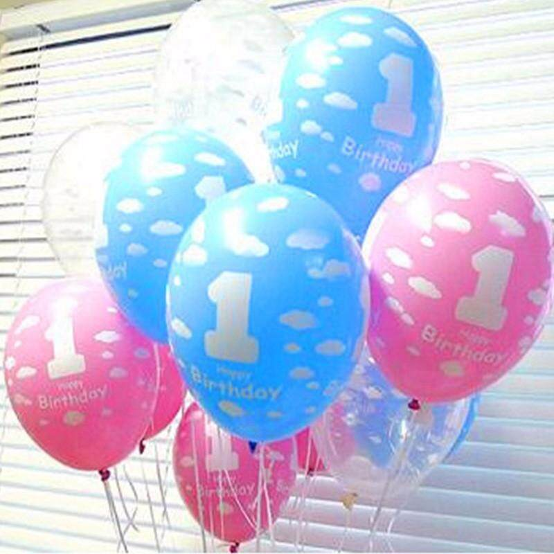 20Pcs Lot Balloons For Baby 1st First Birthday Celebration Girl Boy Printed Number 1 Children