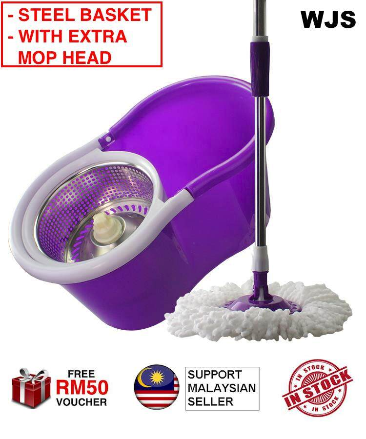 (EXTRA MOP HEAD) Spin Mop Magic Mop + Stainless Steel Cleaner Bucket + 2 Mop Heads Red