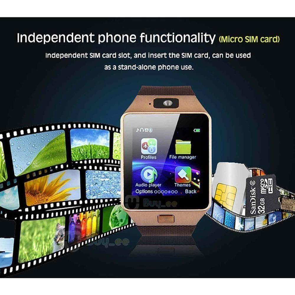Jiuch Portable DZ09 Bluetooth Alat Pengukur Langkah Antiair GSM NFC Ponsel Mate Layar Sentuh Cerdas Jam Tangan untuk Android IOS iPhone untuk Xiaomi iPhone Hitam
