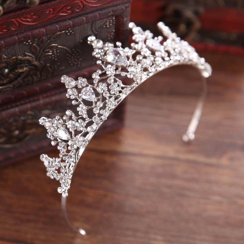 2018 Baroque Mewah Buatan Tangan Mahkota Pernikahan Permata Tiara Perak Kristal Mahkota Tiara .