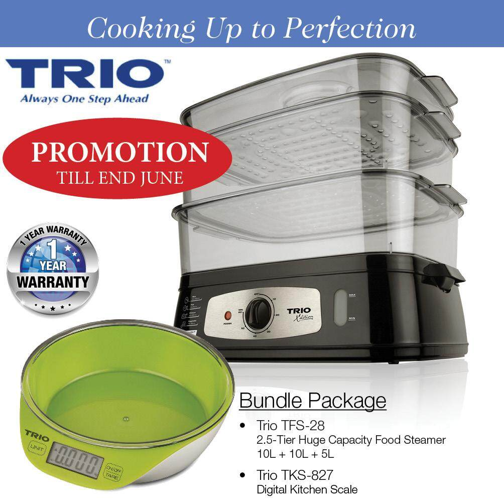 TRIO Bundle Package including TFS-28 2.5-Tier Food Steamer (Free TKS-867 Digital Kitchen Scale Worth RM79)