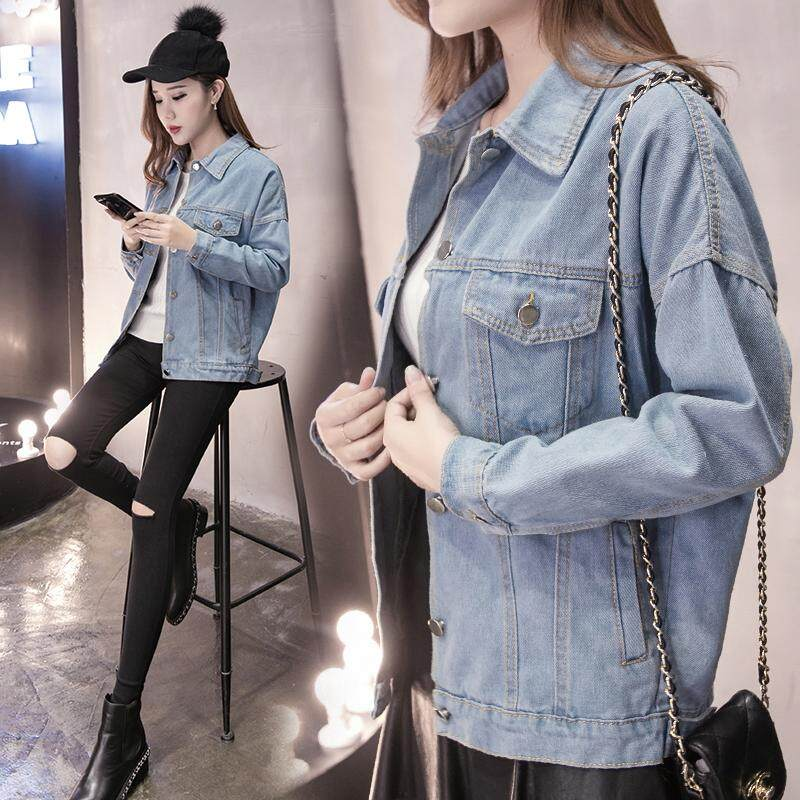 07f2355262c South Korea Ulzzang Harajuku Light Color Denim Jacket Students Long Sleeve Jeans  Coat women Mid-
