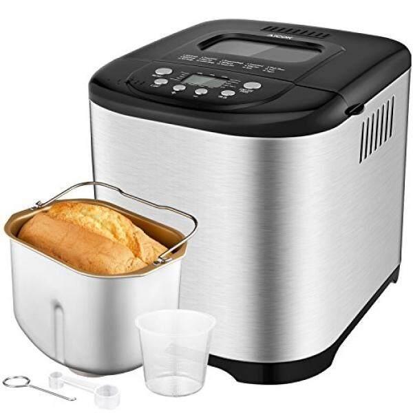 Aicok Dapat Diprogram Bread Mesin, 2.2LB Desain Kompak Pembuat Roti dengan Perumahan Anti Karat, 3 Ukuran Roti, 3 Kerak Warna, 15 Jam Delay Penghitung Waktu, 1 Jam Tetap Hangat, gluten Bebas Whole Wheat Roti-Internasional