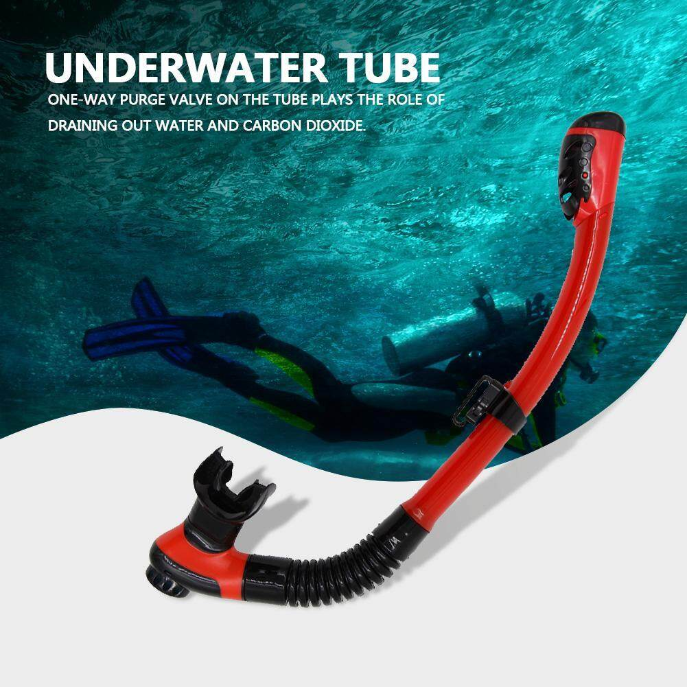 WHALE Underwater Water Sports Swimming Diving Snorkeling Silicone Dry Air Breathing Tube (Red)