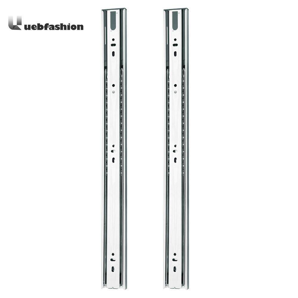 Uebfashion 2pcs 3 Stage Smooth Mute Drawer Track Slide Guide Rail Furniture Fittings(Silver)-