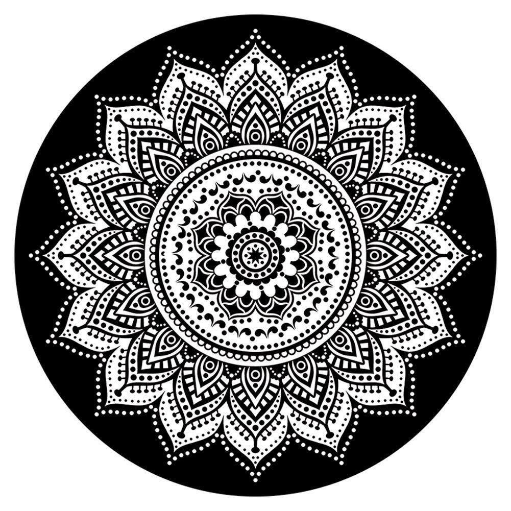 Geometric Printed Mandala Decorative Tapestry Wall Hanging Carpet Wall Decoration Beach Towel Blanket(Black)