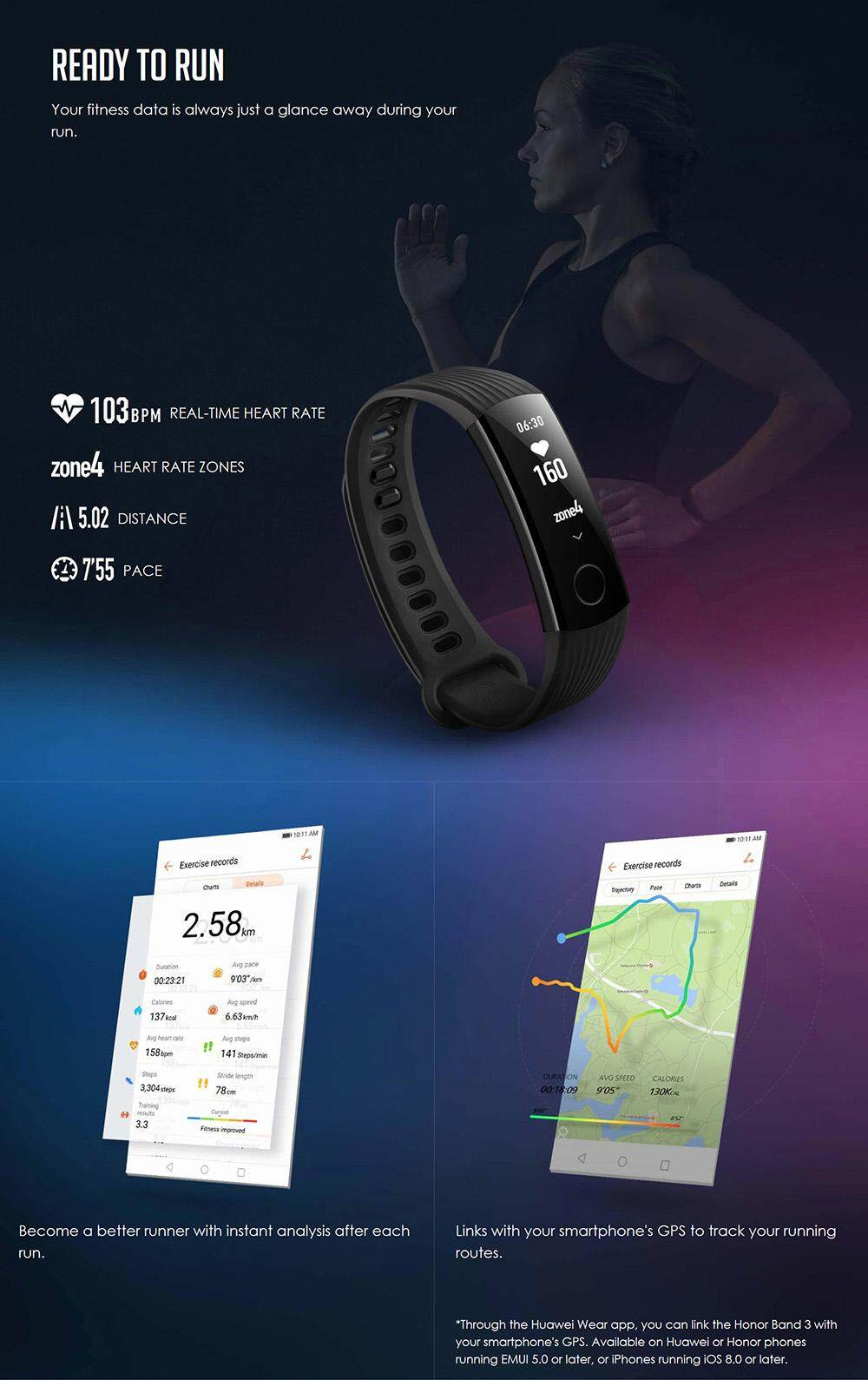 HUAWEI Honor Band 3 Smartband Heart Rate Monitor Calories Consumption Pedometer