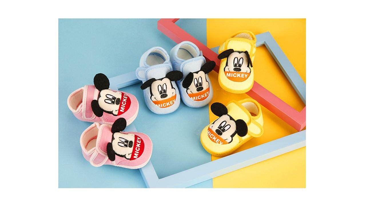 [Ready Stock] Mickey / Winnie the Pooh Anti Slip Prewalk Shoes (Kasut Bayi)