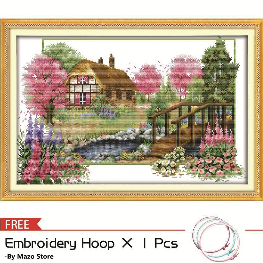 Cross Stitch, Spring Landscape Scenery Pattern, Joy Sunday DIY Handmade 3D Printed Fabric 11CT 14CT Counted Needlework Embroidery Cross Stitch Kit