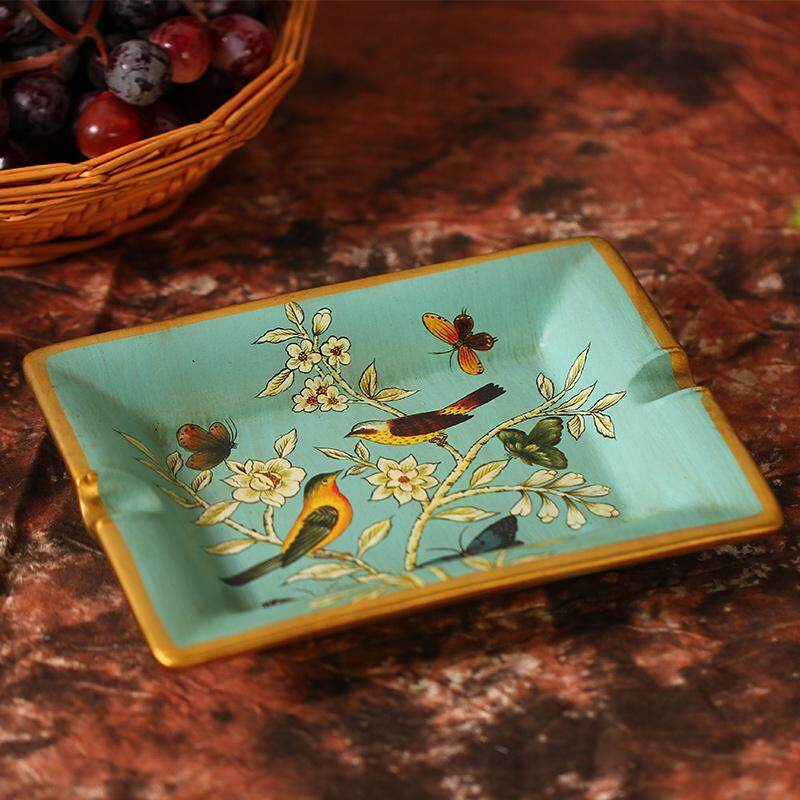 Tiara Residence-American Pastoral Coloured Drawing Ceramic Ashtray Creative Cool Vintage 58 Decorations Living Room Vintage Decoration