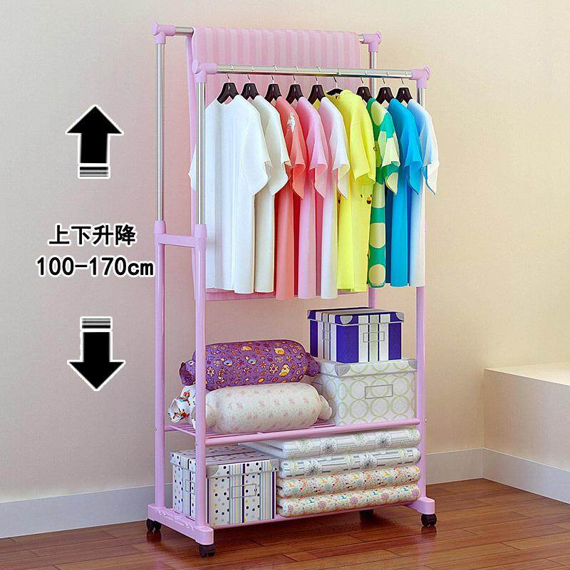 Fo Telescopic Hanger Double Pole Stainless Steel Balcony Clothes Rack Universal Wheel Movable Fashion Hat Rack.