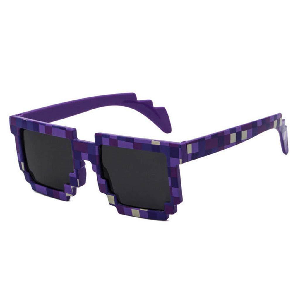 Qimiao Fashion Ringan Kacamata Hitam Dewasa Mosaik Kisi Bingkai Persegi Anti Ultraviolet Kacamata Kacamata Lensa Warna