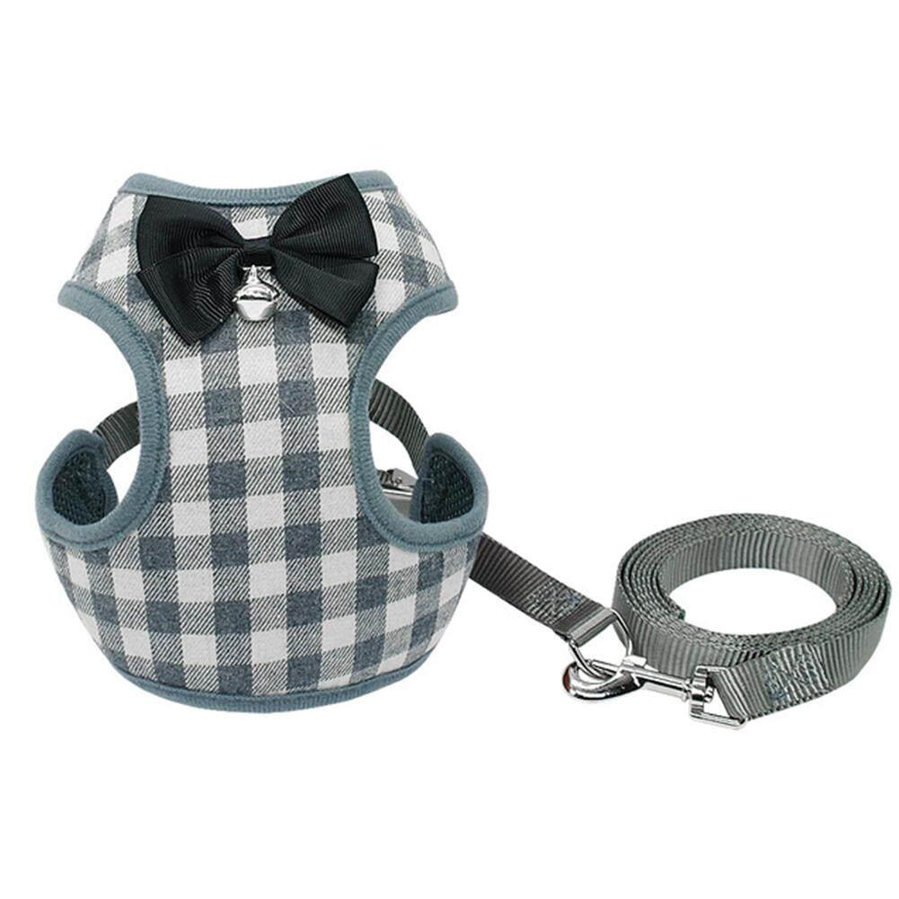 Rumah Besar Ikat Pengekang Anjing Set Rompi Kucing Peliharaan Harness Dengan Ikatan Simpul Untuk Anak Anjing Kecil Anjing Chihuahua Yorkies Pug Stype: Abu-Abu Grid (s) By Big House.