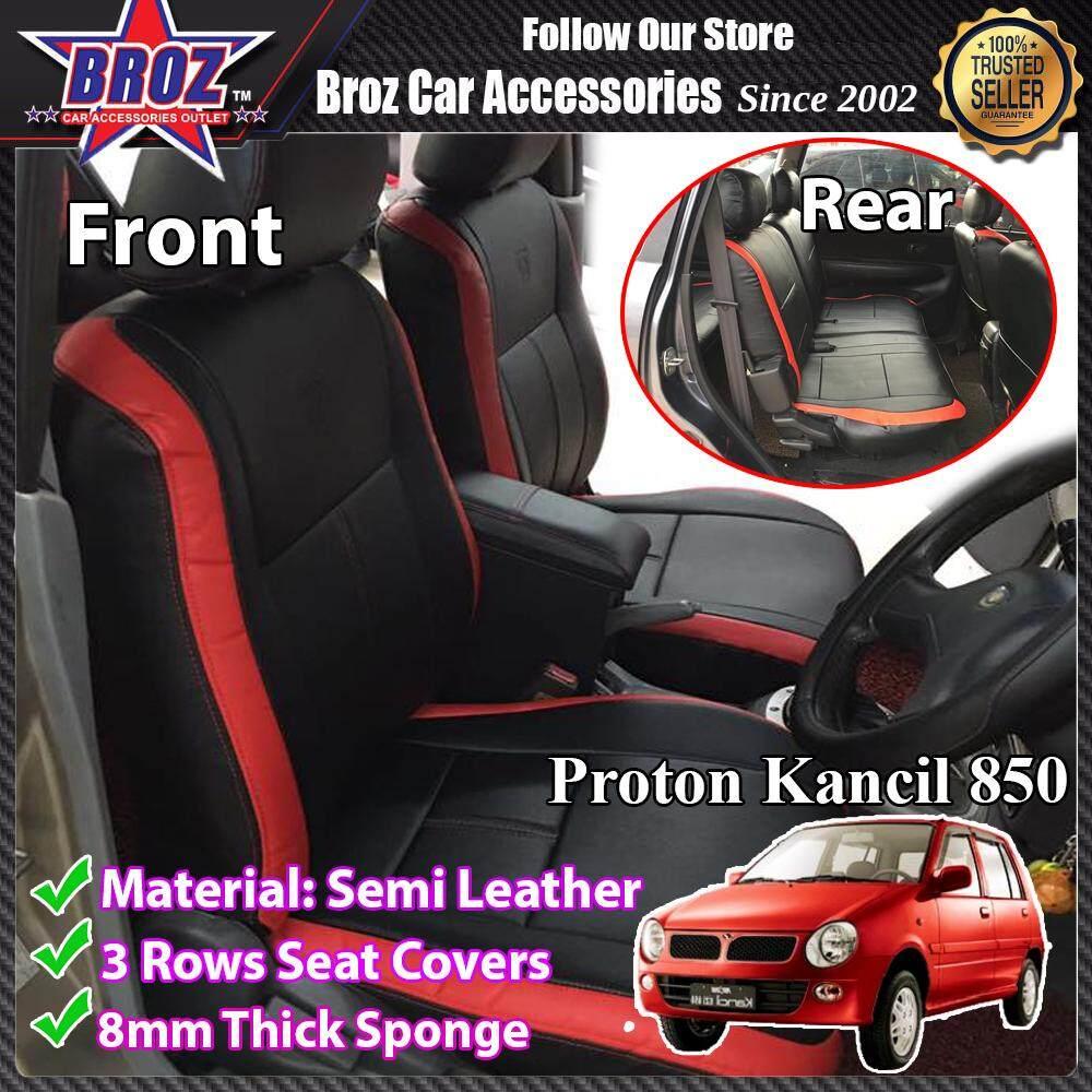 CUSTOM MADE CAR SEAT CUSHION COVER PERODUA  KANCIL 850 SEMI- LEATHER RED BLACK SPORTY DESIGN