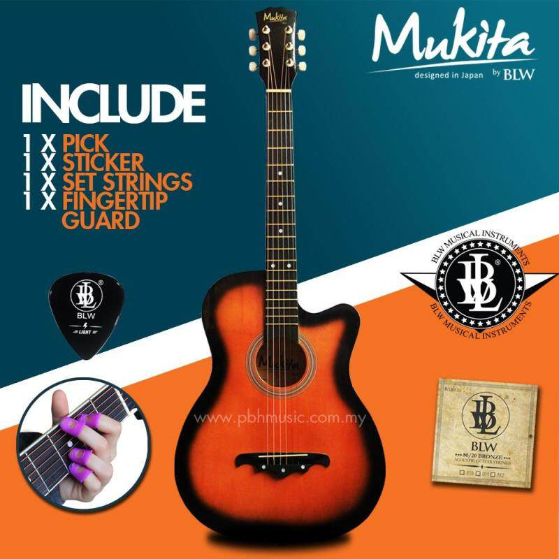 Mukita by BLW Standard Acoustic Folk Cutaway Basic Guitar Package 38 Inch for beginners with String Set, Fingertip Guard, Pick and Merchandise Sticker (Sunburst) Malaysia